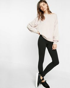 Full-length black leggings: a must-have for every closet. Soft and comfy, they're perfect for layering under oversized shirts and sweatshirts, or even a sweater dress when the weather turns chilly.