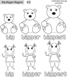 Big Bigger Biggest Worksheet Preschool Sketch Coloring Page