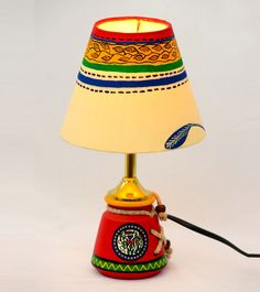 ExclusiveLane 10 Inch Terracotta Warli Handpainted Baby Lamp Red - Lighting n Lamps by ExclusiveLane for Beeja Indian Home Decor, Unique Home Decor, Home Decor Items Online, Indian Interiors, Love Home, Indian Art, Terracotta, Home And Living, Red And White
