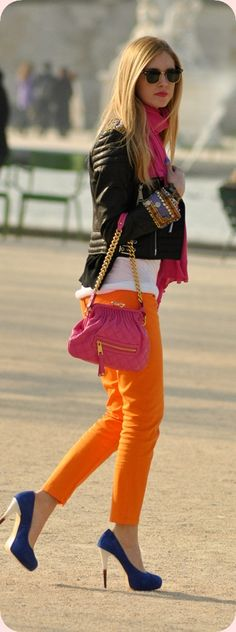 Neon skinny jeans with a motorcycle jacket [cuuute casual date outfit] love ;D