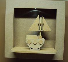 Quadro marinheiro com led barco decoração quarto bebe Luartes Decoração.Nicho bebe,quadro nicho, nicho