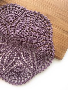 Crochet table ornament as a table decor. Natural cotton doily in a beautiful color. SIZE - about MATERIAL - high quality 100 % mercerized cotton thread Free Crochet Doily Patterns, Crochet Placemats, Crochet Patterns For Beginners, Crochet Doilies, Crochet Hooks, Crochet Baby, Do It Yourself Home, Stuffed Toys Patterns, Handmade Toys