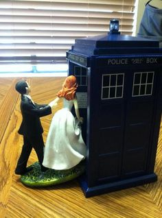 """Maybe little wooden dolls dressed and painted as us moving into the tardis? Hal likes this idea to kinda work with the """"together forever through time and space"""""""