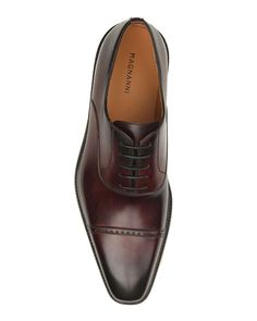 Cap-Toe Leather Oxford Shoe, Burgundy