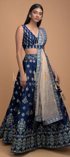 Navy Blue Lehenga Choli In Silk With Foil Printed Buttis And Heritage Motifs Online - Kalki Fashion Choli Designs, Sari Blouse Designs, Lehenga Designs, Indian Lehenga, Lehenga Choli, Saree, Indian Dresses, Indian Outfits, Indian Clothes