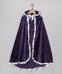 Another great find on #zulily! Purple Velour Royal Hooded Cloak - Kids #zulilyfinds