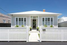 Devonport Transitional Bungalow/Villa Renovation - Transitional - Exterior - Auckland - by Broswick Builders Ltd Exterior Paint Colors, Paint Colours, Traditional House, Cladding, Bungalow, Facade, Villa, Auckland, Building