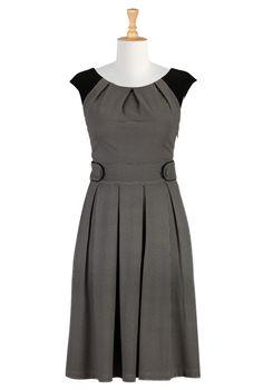 Pleated ponte knit dress.  eShakti - Shop Women's designer fashion dresses, tops | Size 0-36W & Custom clothes