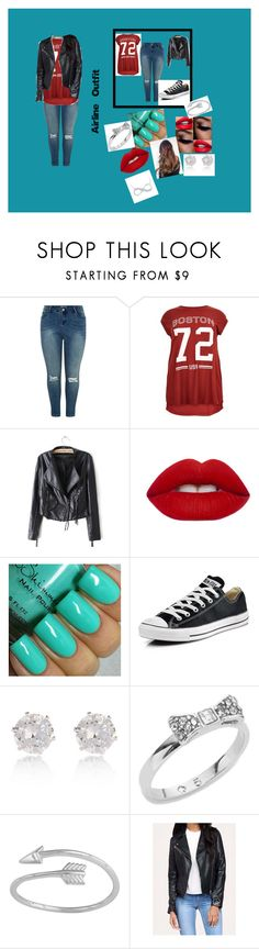 """""""Flying outfit"""" by sydneygolden645 on Polyvore featuring Lime Crime, Converse, River Island, Kate Spade, women's clothing, women, female, woman, misses and juniors"""