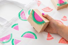 A New Way to Make Hand-Stamped Tote Bags in Under 30 Minutes via Brit + Co.