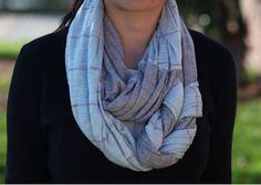 Braided Infinity Scarf in Gray and Light Blue/Gray Stripes