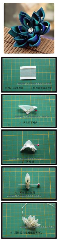 Tutorial for a ribbon Lotus flower