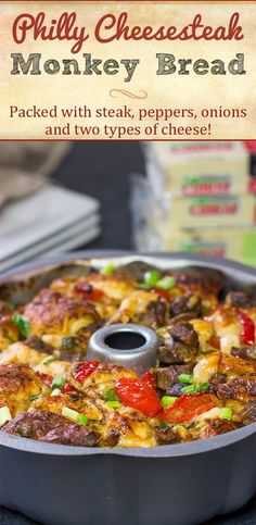 Packed with juicy steak, sauteed peppers   onions and two types of cheese, this Philly Cheesesteak Monkey Bread is one delicious way to mix up the routine! Entree Recipes, Appetizer Recipes, Fall Recipes, Breaded Steak, Sauteed Peppers And Onions, Cheesesteak Recipe, Bite Size Food, Top Sirloin Steak, Friend Recipe