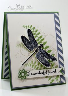 For all of the details on my card including card stock cuts, please visit my blog post:  http://cardiologybyjari.com/dragonfly-dreams-butterfly-basics-pcc231/