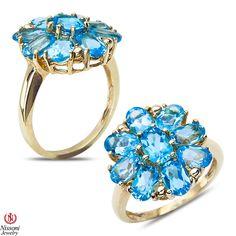 Ebay NissoniJewelry presents - Blue Topaz Flower Ring 10k Yellow Gold    Model Number:CG-4821BK    http://www.ebay.com/itm/Blue-Topaz-Flower-Ring-10k-Yellow-Gold/221630406074
