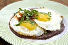Huevos Rancheros. Actually just black beans whole would be fine. Wonder if Brad would like this.