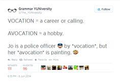 #grammar #vocation #avocation
