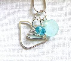 Bird Sea Glass Necklace Garden Leaf Seaside by GardenLeafSeaside