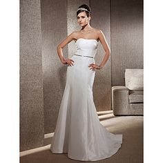 Elegant Trumpet/Mermaid Sweetheart Sweep/Brush Train Taffeta Wedding Dress  – EUR € 81.67