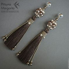 Earrings Chocolate brush, brush earrings, long earrings, beads, beading, evening earrings, elegant earrings, tassels