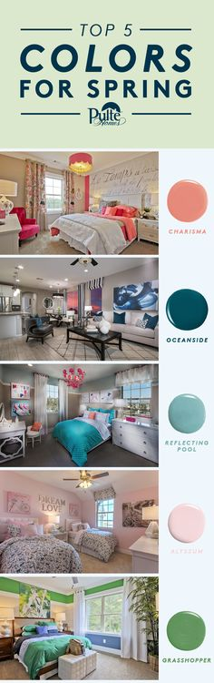 Need inspiration and ideas to refresh your home decor for spring? Sherwin Williams just released the top 5 paint colors for the season. We've matched the shade to the room it would suit best, with lots of bright ideas for your kids' rooms! | Pulte Homes