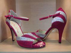 Item Asia, Sole Vero Cuoio, Materials Suede, Glitter fabric, Toe Open, Back Closed, Colors fuxia&silver, Heel Shape Stiletto
