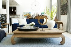 Blue velvet couch obsession /  love this coffee table !!