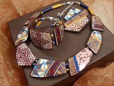 Купить Колье, браслет, брошь из полимерной глины - Пуэрто-Рико - комбинированный, коричневый, синий, карибы