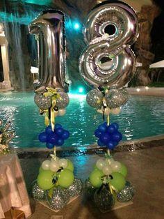 Birthday Party Images, Adult Birthday Party, Diy Birthday, Birthday Party Decorations, Happy Birthday, Birthday Goals, Number Balloons, Balloon Columns, Milestone Birthdays
