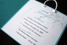 "Tiffany Blue Bag Wedding and Shower Invitation by alamodebride. * Looks like a Tiffany bag, opens up to Wedding invitaiton. Must see! -  { MATERIAL } -  Invite Size-(Size: 5.5""x 5.5"") envelope size 6x6,  Invite is printed on premium linen 80lb card stock and layered on premium 100lb smooth Includes lined premium linen envelopes. Satin ribbon and handles (Invite come assembled)."