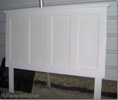 DIY headboard from old door or you could take a hollow core door and add boards and trim to get the same look. DIY headboard from old door or you could take a hollow core door and add boards and trim to get the same look. Repurposed Items, Repurposed Furniture, Diy Furniture, Repurposed Doors, Furniture Design, Headboard From Old Door, Door Headboards, Pallet Shelves, Pallet Benches