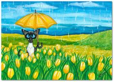 Siamese Cat Spring Showers Tulip Flowers Pet ArT - Art Prints or ACEOs by Bihrle ck422