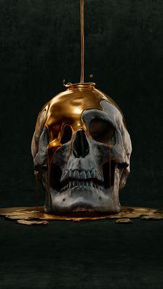 Yur weight in gold! Amoled Wallpapers, Arte Black, Skull Reference, Totenkopf Tattoos, Creation Art, Skull Artwork, Human Skull, Arte Horror, Skull And Bones