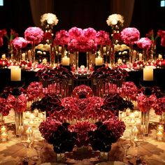 Dark flowers and plenty of candles make this the perfect inspiration for a Halloween wedding ~ Jeff Leatham