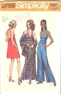 Simplicity 9759 1970s Misses Halter Dress Jumpsuit by mbchills