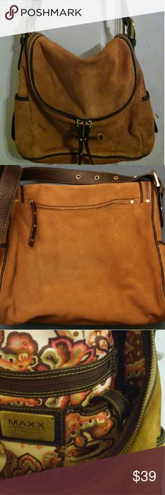 Selling this Burnt orange suede shoulder bag on Poshmark! My username is: dcpugi. #shopmycloset #poshmark #fashion #shopping #style #forsale #Maxx NY Signature  #Handbags