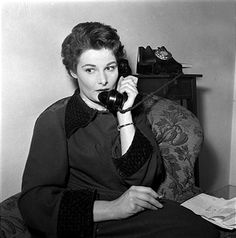 0 British actress Adrienne Corri on the phone