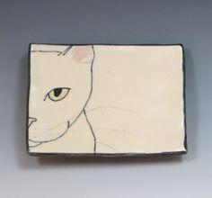 Handbuilt Ceramic Soap Dish with Cat by SuramicsPottery on Etsy, $12.00
