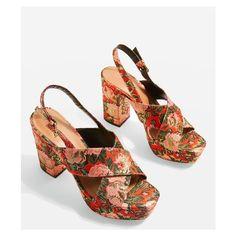 Topshop Mister Slingback Platform Sandals ($39) ❤ liked on Polyvore featuring shoes, sandals, floral high heel sandals, slingback shoes, floral sandals, slingback sandals and floral print sandals