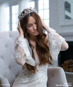Maria Elena Fall 2019 bridal headpieces collection is a new trend of redefined regal femininity. 2015 Wedding Dresses, Bridal Dresses, Flower Girl Dresses, Tulle, Satin, Elegant Bride, Bridal Crown, Bridal Headpieces, Bridal Collection