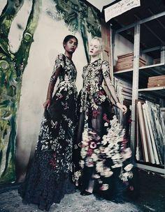 Maja Salamon & Ysaunny Brito wearing Valentino by Paolo Roversi for W Magazine, September 2014.
