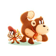 Donkey Kong and Diddy Kong Video Games Funny, Funny Games, Diddy Kong, Pokemon, Donkey Kong Country, I Love Games, Classic Video Games, Cartoon Games, Video Game Characters