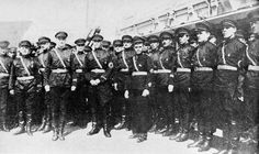 Russian soldiers in the northeast Chinese city of Harbin, 1934. China had a sizable Russian emigre community.