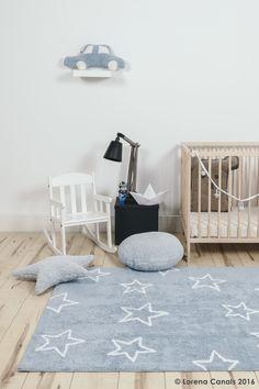 Dywan dla dzieci do prania w pralce Estrellas niebieski w gwiazdy LORENA CANALS