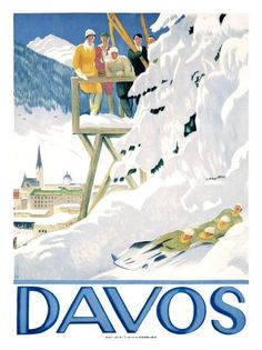 Ski Poster Davos by Emile Cardinaux 1918 Travel Poster Art Davos, Vintage Ski Posters, Retro Poster, Vintage Prints, Sports Art, Sports Posters, Art Graphique, Giclee Print, Art Print