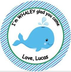 12 Boy Personalized Whale Under the Sea Ocean Animal Baby Shower  or Birthday Party Favor Tags OR  Stickers You Choose Thank You Tag