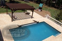 Free standing pool side pergola with Early American stain and Crescent profile. Upgraded arched beams.