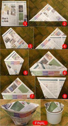 Origami Sustentável!  Passo-a-passo de saco de lixo feito de jornal