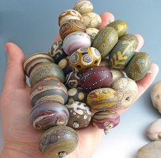 wandering spirit handmade lampwork glass focal bead set - matte finish