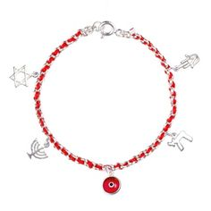 This stylish bracelet is made of Sterling Silver link chain with the traditional Kabbalah Red String interwoven. It has 5 Sterling Silver Charms, Nazar Glass Red Lucky Eye Charm, A Hamsa Charm, Chai (Life) Charm, Menorah and Star of David. The charms are believed respectively to ward off the Evil Eye, bring Prosperity, Health and Good Luck.